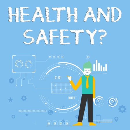 Handwriting text Health And Safety question. Conceptual photo regulations and procedures intended to prevent accident Man Standing Holding Pen Pointing to Chart Diagram with SEO Process Icons Reklamní fotografie