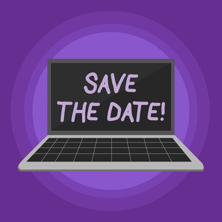 Conceptual hand writing showing Save The Date. Concept meaning Organizing events well make day special event organizers Laptop with Grid Design Keyboard Screen on Pastel Backdrop