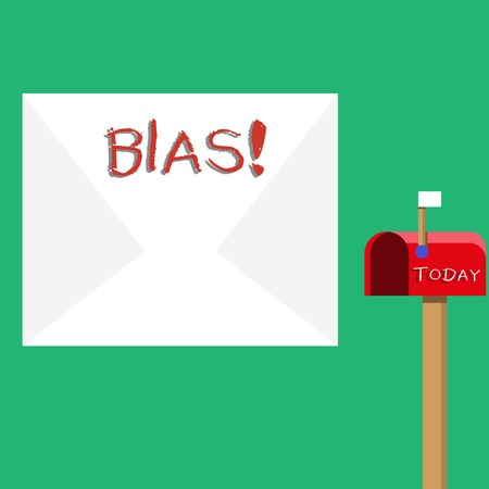 Text sign showing Bias. Business photo showcasing inclination or prejudice for or against one demonstrating group Blank Big White Envelope and Open Red Mailbox with Small Flag Up Signalling