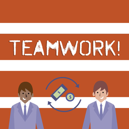 Text sign showing Teamwork. Business photo text combined action of group especially when effective and efficient Money in Dollar Currency Sign Inside Rotating Arrows Between Two Businessmen
