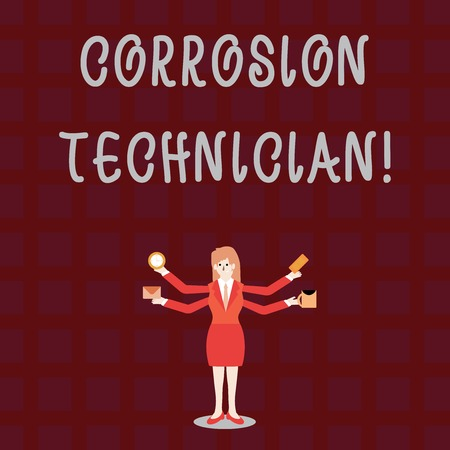 Text sign showing Corrosion Technician. Business photo showcasing installation and maintaining corrosion control systems Businesswoman with Four Arms Extending Sideways Holding Workers Needed Item