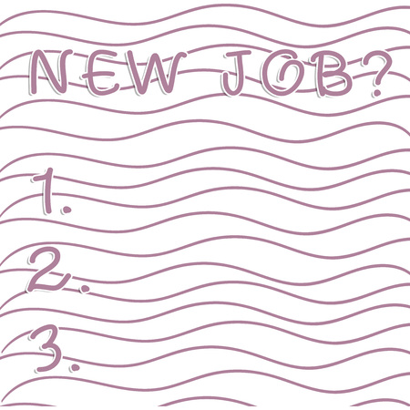 Handwriting text writing New Job Question. Conceptual photo formal meeting which someone asked find out if they are suitable Horizontal Repetition of Curvy Violet Lines Print Pattern on White Isolated