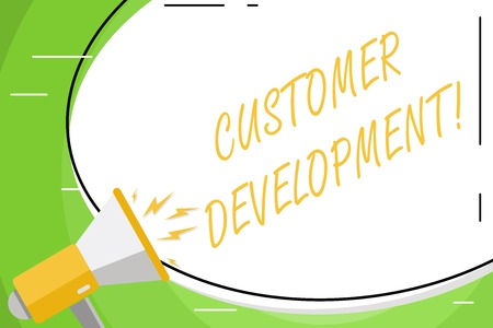 Text sign showing Customer Development. Business photo showcasing formal methodology for building business startups Blank White Huge Oval Shape Sticker and Megaphone Shouting with Volume Icon Stock fotó