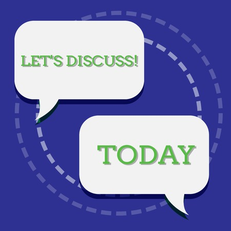 Handwriting text writing Let S Discuss. Conceptual photo asking someone to talk about something with demonstrating or showing Two Blank White Speech Balloon Engaging in Conversation on Pastel Backdrop Stock Photo