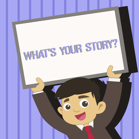 Word writing text What S Your Story Question. Business photo showcasing asking demonstrating about his past life actions events Young Smiling Student Raising Upward Blank Framed Whiteboard Above his Head Stockfoto