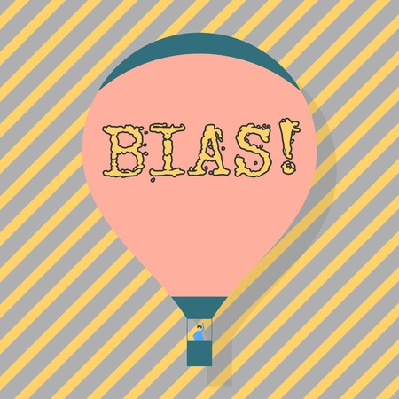 Text sign showing Bias. Business photo text inclination or prejudice for or against one demonstrating group Blank Pink Hot Air Balloon Floating with One Passenger Waving From Gondola