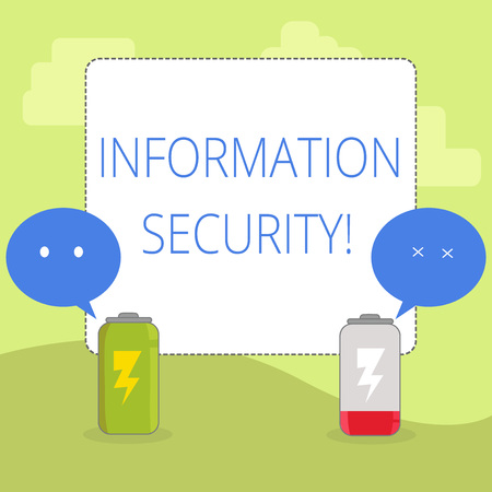 Word writing text Information Security. Business photo showcasing protected against the unauthorized use of information Fully Charged and Discharged Battery with Two Colorful Emoji Speech Bubble