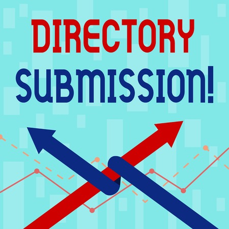 Writing note showing Directory Submission. Business concept for main source to increase backlinks for your website Two Arrows One Intertwined to Other Team Up or Competition