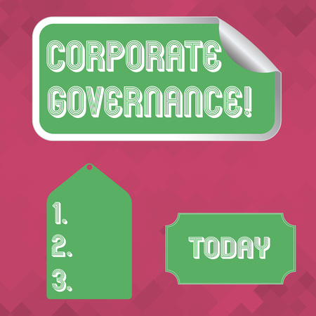 Word writing text Corporate Governance. Business photo showcasing system of processes by which a firm is controlled Blank Color Label, Self Adhesive Sticker with Border, Bended Corner and Tag