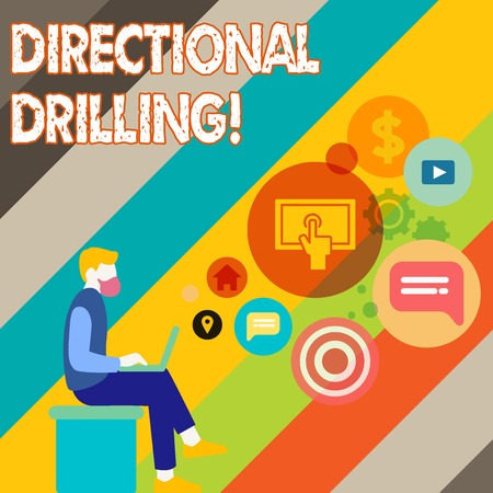 Writing note showing Directional Drilling. Business concept for drilling for oil which the well not drilled vertically Man Sitting with Laptop and SEO Driver Icons on Blank Space Imagens