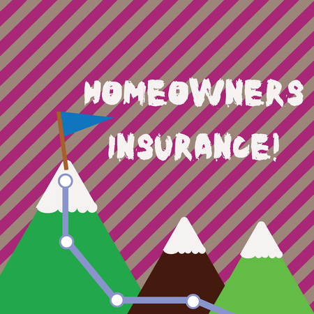 Text sign showing Homeowners Insurance. Business photo text Covers losses and damages to an individual s is house Three Mountains with Hiking Trail and White Snowy Top with Flag on One Peak