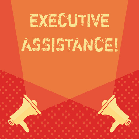 Word writing text Executive Assistance. Business photo showcasing focus on providing highlevel administrative support Blank Double Spotlight Crisscrossing Upward from Two Megaphones on the Floor