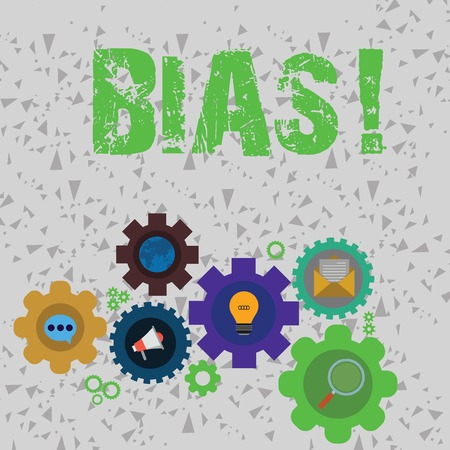 Word writing text Bias. Business photo showcasing inclination or prejudice for or against one demonstrating group Set of Global Online Social Networking Icons Inside Colorful Cog Wheel Gear 版權商用圖片