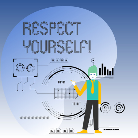 Conceptual hand writing showing Respect Yourself. Concept meaning believing that you good and worthy being treated well Man Holding Pen Pointing to Chart Diagram SEO Process Icons