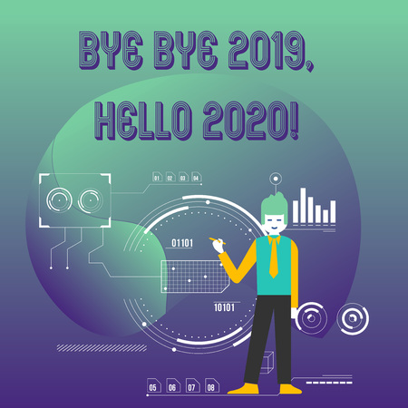 Writing note showing Bye Bye 2019 Hello 2020. Business concept for saying goodbye to last year and welcoming another good one Man Holding Pen Pointing to Chart Diagram SEO Process Icons Stock Photo