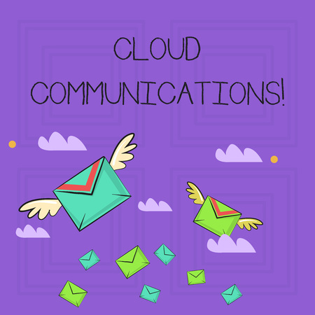 Writing note showing Cloud Communications. Business concept for the internetbased voice and data communications Colorful Airmail Letter Envelopes and Two of Them with Wings