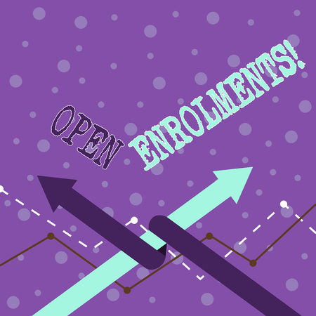 Handwriting text writing Open Enrolments. Conceptual photo when employees may make changes to elected fringe benefit Two Arrows where One is Intertwined to the other as Team Up or Competition