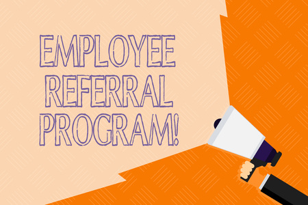 Conceptual hand writing showing Employee Referral Program. Concept meaning internal recruitment method employed by organizations Hand Holding Megaphone with Beam Extending the Volume Range