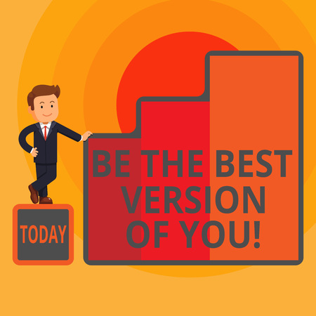 Word writing text Be The Best Version Of You. Business photo showcasing going to move away from where are start improving Happy Businessman Presenting Growth and Success in Rising Bar Graph Columns