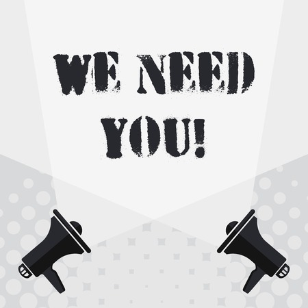 Text sign showing We Need You. Business photo text asking someone to work together for certain job or target Blank Double Spotlight Crisscrossing Upward from Two Megaphones on the Floor
