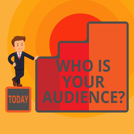 Word writing text Who Is Your Audience Question. Business photo showcasing who is watching or listening to it Happy Businessman Presenting Growth and Success in Rising Bar Graph Columns
