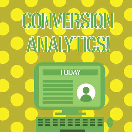 Word writing text Conversion Analytics. Business photo showcasing action that s is counted when someone interacts with ad Desktop Computer Mounted on Stand with Online Profile Data on Monitor Screen Stock Photo