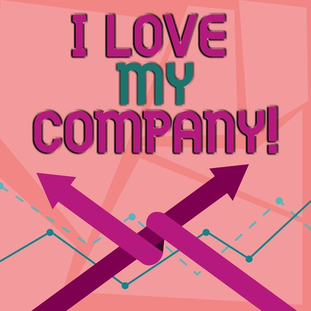 Word writing text I Love My Company. Business photo showcasing tell why admire their job and workplace Two Arrows where One is Intertwined to the other as Team Up or Competition
