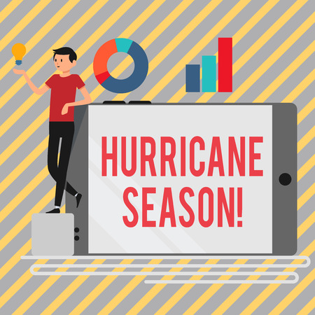Writing note showing Hurricane Season. Business concept for time when most tropical cyclones are expected to develop Man Leaning on Smartphone Turned on Side Graph and Idea Icon