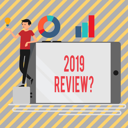 Writing note showing 2019 Review Question. Business concept for remembering past year events main actions or good shows Man Leaning on Smartphone Turned on Side Graph and Idea Icon
