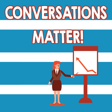 Text sign showing Conversations Matter. Business photo text generate new and meaningful knowledge Positive action Businesswoman Holding Stick Pointing to Chart of Arrow Upward on Whiteboard