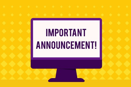 Text sign showing Important Announcement. Business photo showcasing spoken statement that tells showing about something Blank Space Desktop Computer Colorful Monitor Screen Freestanding on Table