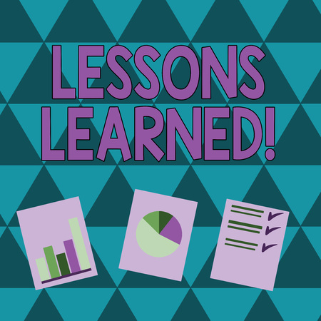 Writing note showing Lessons Learned. Business concept for experiences distilled project that should actively taken Presentation of Bar, Data and Pie Chart Graph on White Paper