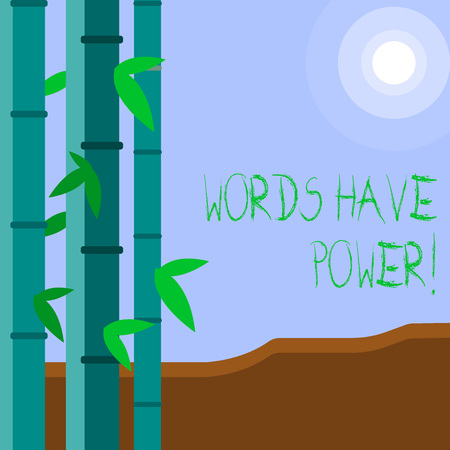 Word writing text Words Have Power. Business photo showcasing as they has ability to help heal hurt or harm someone Colorful Sets of Leafy Bamboo on Left Side and Moon or Sun with Round Beam Archivio Fotografico