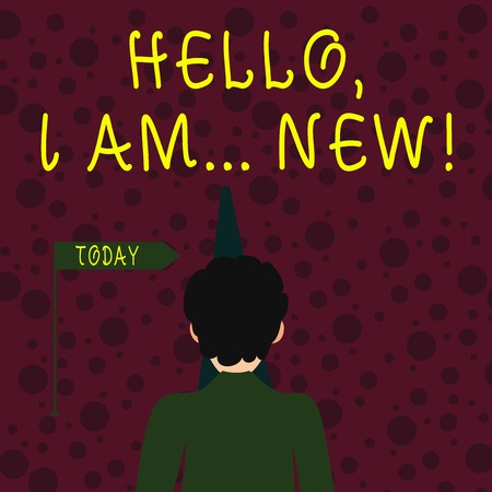 Conceptual hand writing showing Hello I Am New. Concept meaning used greeting or begin telephone conversation Man Facing Distance and Blocking the View of Straight Path