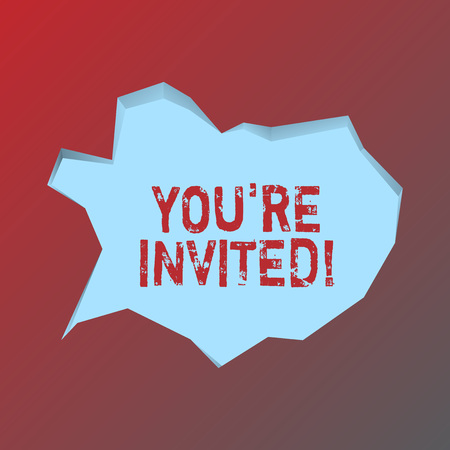 Handwriting text You Re Invited. Conceptual photo make a polite friendly request to someone go somewhere Blank Pale Blue Speech Bubble in Irregular Cut Edge Shape 3D Style Backdrop Stock Photo