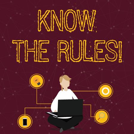 Wort schreiben Text kennen die Regeln. Geschäftsfoto, das explizite oder regulierende Grundsätze für das Verhalten einer Frau zeigt, die mit gekreuzten Beinen auf dem Boden sitzt und den Laptop mit technischen Symbolen durchsucht?