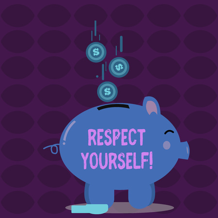 Conceptual hand writing showing Respect Yourself. Concept meaning believing that you good and worthy being treated well Piggy Bank Sideview and Dollar Coins Falling Down to Slit