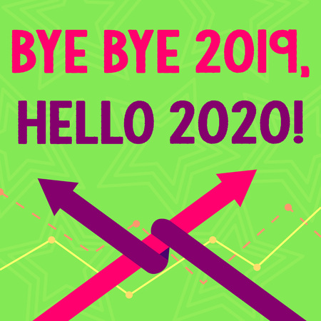 Text sign showing Bye Bye 2019 Hello 2020. Business photo text saying goodbye to last year and welcoming another good one Two Arrows where One is Intertwined to the other as Team Up or Competition Stock Photo