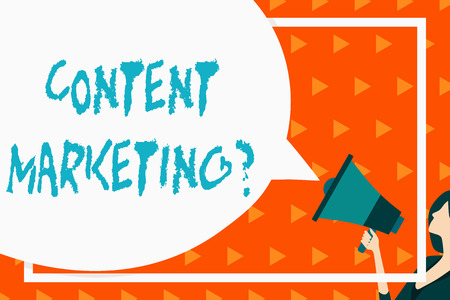 Writing note showing Content Marketing Question. Business concept for involves creation and sharing of online material Speech Bubble Round Shape. Woman Holding Colorful Megaphone