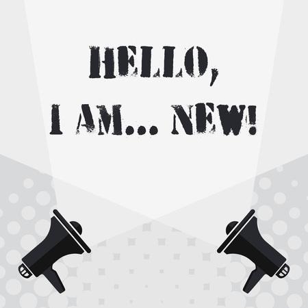 Segno di testo che mostra Ciao io sono nuovo. Business photo testo utilizzato saluto o iniziare una conversazione telefonica doppio vuoto Spotlight attraversando verso l'alto da due megafoni sul pavimento