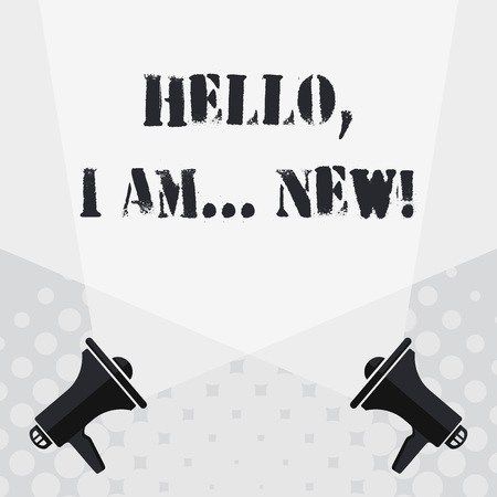 Text sign showing Hello I Am New. Business photo text used greeting or begin telephone conversation Blank Double Spotlight Crisscrossing Upward from Two Megaphones on the Floor 写真素材