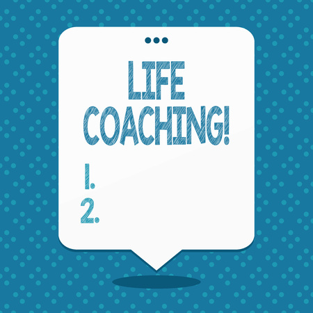 Handwriting text Life Coaching. Conceptual photo demonstrating employed to help showing attain their goals in career Blank Space White Speech Balloon Floating with Three Punched Holes on Top