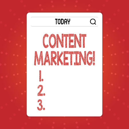 Text sign showing Content Marketing. Business photo text involves creation and sharing of online material Search Bar with Magnifying Glass Icon photo on Blank Vertical White Screen