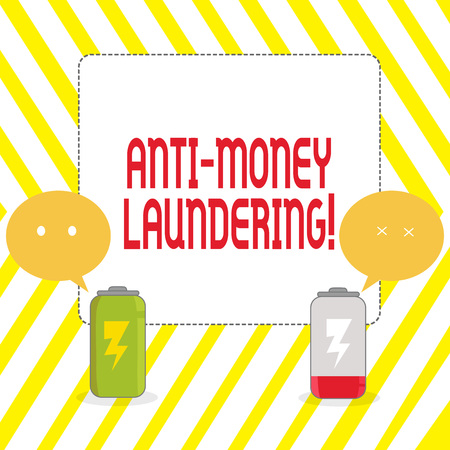 Conceptual hand writing showing Anti Money Laundering. Concept meaning regulations stop generating income through illegal actions Fully Charge and Discharge Battery with Emoji Speech Bubble Stock Photo