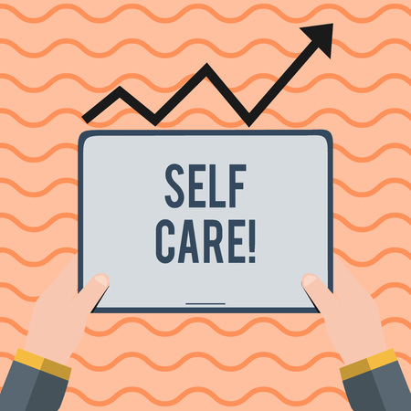 Word writing text Self Care. Business photo showcasing practice of taking action preserve or improve ones own health Hand Holding Blank Screen Tablet under Black Progressive Arrow Going Upward