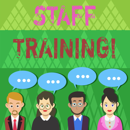 Text sign showing Staff Training. Business photo text learn specific knowledge improve perforanalysisce in current roles Group of Business People with Blank Color Chat Speech Bubble with Three Dots 版權商用圖片