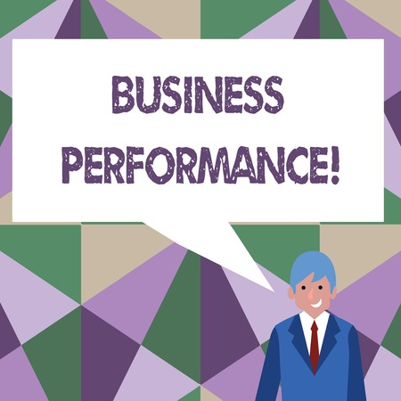 Writing note showing Business Perforanalysisce. Business concept for determining how the business can reach better its goals Businessman Smiling and Talking Blank Color Speech Bubble Standard-Bild