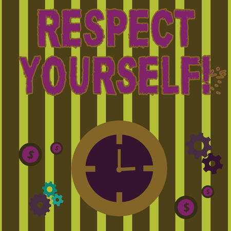 Text sign showing Respect Yourself. Business photo text believing that you good and worthy being treated well Time Management Icons of Clock, Cog Wheel Gears and Dollar Currency Sign Stock Photo
