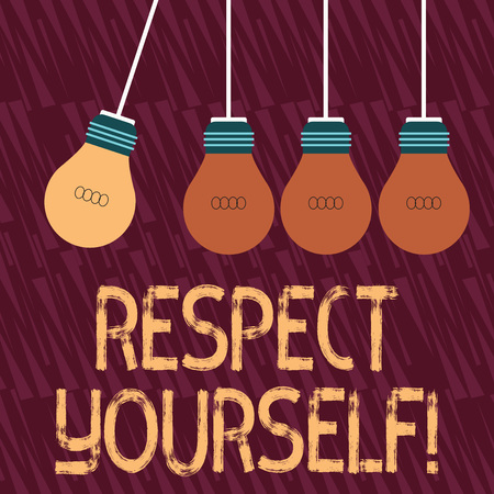Text sign showing Respect Yourself. Business photo text believing that you good and worthy being treated well Color Incandescent Pendant Bulb Hanging with One Different Shade Lightbulb Stock Photo