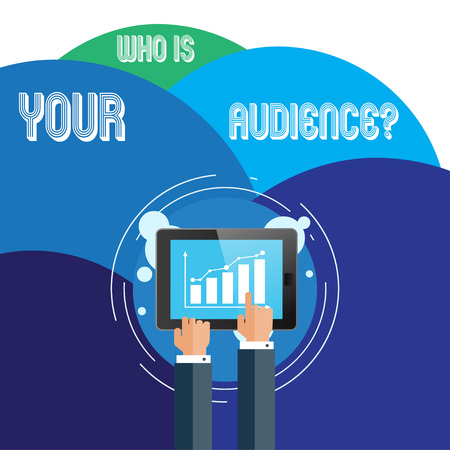 Handwriting text Who Is Your Audience Question. Conceptual photo who is watching or listening to it Businessman Hand Touching Pointing to Bar Line Chart on Smartphone Screen